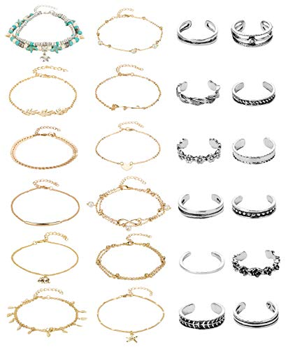 Masedy 24 Pcs Anklets Toe Rings for Women Girls Bracelets Anklets Adjustable Open Toe Ring Beach Foot Jewelry Gold