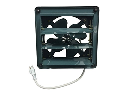 Professional Grade Products 9800511 Metal Shutter Exhaust Fan for Garage Shed Pole Barn Hydroponic Ventilation, 8'' by Professional Grade Products
