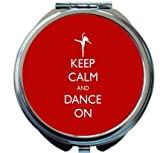 Rikki Knight Keep Calm and Dance On Red Color Design Round Compact Mirror
