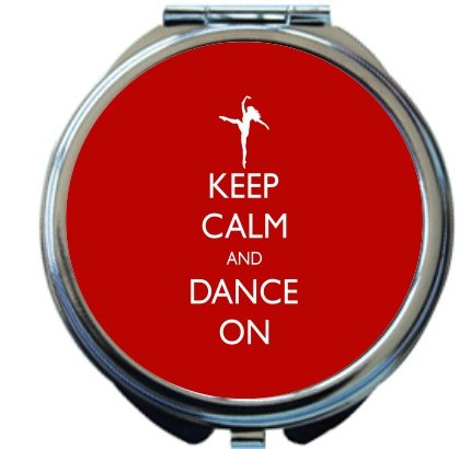 Rikki Knight Keep Calm and Dance On Red Color Design Round Compact Mirror by Rikki Knight