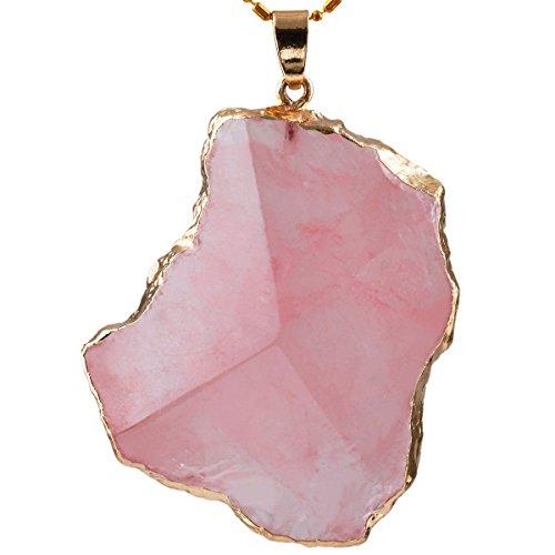 rockcloud Rose Quartz Pendant Necklace Gemstone Crystal Facet Irregular