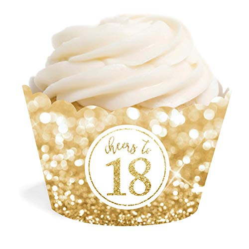 Andaz Press Glitzy Faux Gold Glitter Cupcake Wrapper Decorations, Cheers to 18 Years, 18th Birthday or Anniversary, 24-Pack, Not Real Glitter