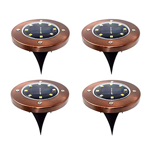 (Solar Ground Lights, 8 LED Disk Light, Waterproof Landscape Lights for Lawn Pathway Yard Driveway Patio Walkway(4 Pack) #3144 (Copper with Warm White Lighting))
