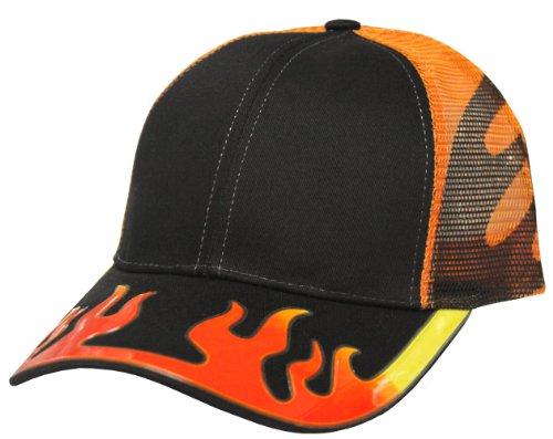 Burning Flame Decal Mesh Trucker Snapback Cap Black/Orange
