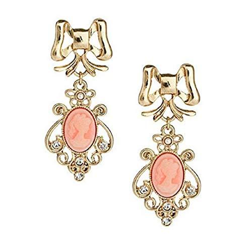 TOPOB 2019 New Ladies Earrings, Gold Bow Beauty Portrait Crystal Pendant Alloy Earrings (Gold)