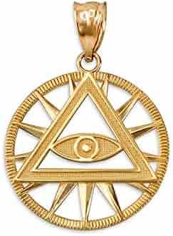 LA BLINGZ 10K Polished Yellow Gold Gemini Zodiac Sign Round Pendant Necklace