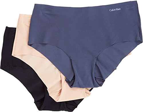 Calvin Klein Women's 3 Pack Invisibles Hipster Panty, Speakeasy, Light Caramel, Black, XL (Caramel Medium Finish)