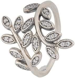 PANDORA Shimmering Leaves Clear CZ Ring Size 7 - 190921CZ-54
