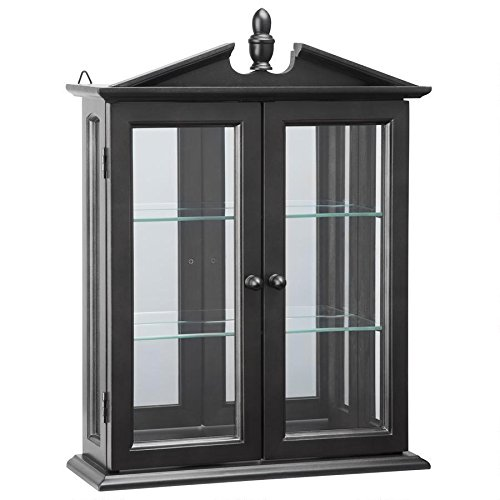 Design Toscano BN17222 Amesbury Manor Wall Curio Cabinet, Ebony Black (Cabinet Curved Curio With Glass)