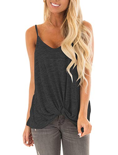 (Hilltichu Women's Casual Twist Knot Tank Tops Sleeveless Spaghetti Strap Camisole Short Sleeve Shirts Gray-Black )