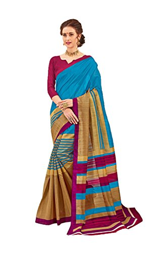 Indian Sarees For Women Wedding Turquoise Blue & Brown Designer Party Wear Traditional Sari by Dessa Collections