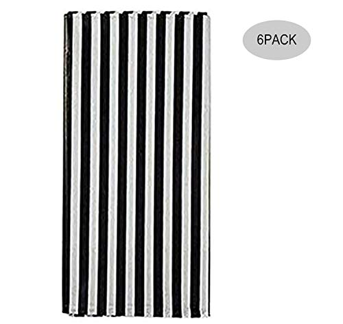 Yansanido Plastic Picnic Party Tablecloth,6 Pack Plastic Picnic Tablecloth 54 Inch. x 108 Inch. Rectangle Table Cover (Black White Stripe)]()