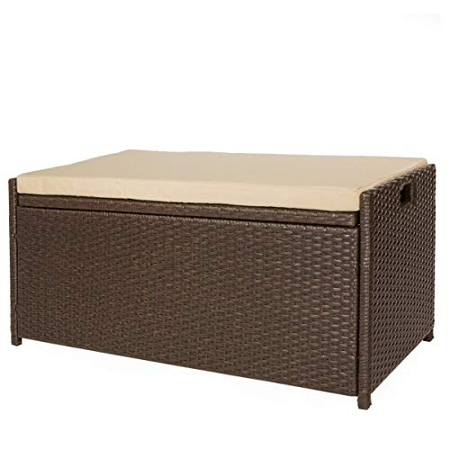 Victoria Young Resin Wicker Deck Box Storage Bench Container with Seat and Cushion Indoor and Outdoor Use, 60 Gallon, Espresso Brown (Seat Box Outdoor Storage)