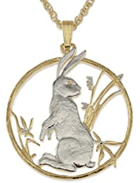 Rabbit Pendant & Necklace, Chinese 10 Yuan Coin Hand Cut