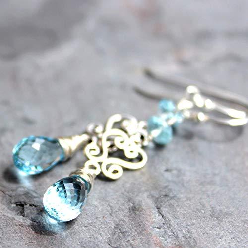 Blue Topaz Earrings Sterling Silver Scroll Dangle Gemstones November ()