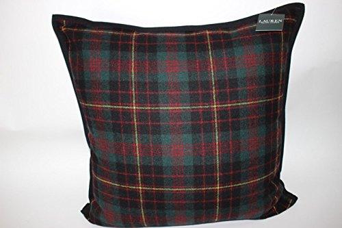 Ralph Lauren Tartan Plaid Wool Throw Pillow- Lauren Holiday Green Red ()