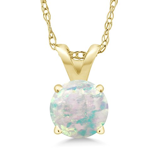 14k Gold Opal Pendant - 0.30 Ct Round Cabochon White Simulated Opal 14K Yellow Gold Pendant With Chain