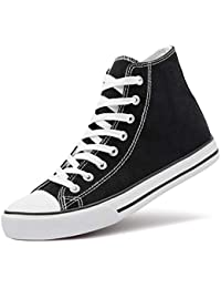 Men's High Top Canvas Sneakers Lace Up Classic Casual Walking Shoes