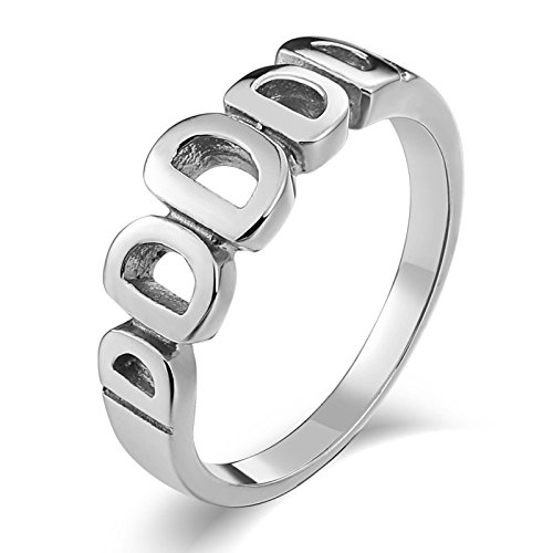 Adisaer Wedding Band Ring Stainless Steel for Men Silver Hollow Letter D. Vintage Reto Punk Mens Rings Size 7 - Silver Pear Place Card Holders