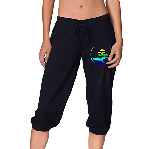 Qydoop-14 Women's Capris Pants, Bonsai Tree Japanese Calligraphy Circle Zen Yoga/Run Activewear Circles Capri Pants