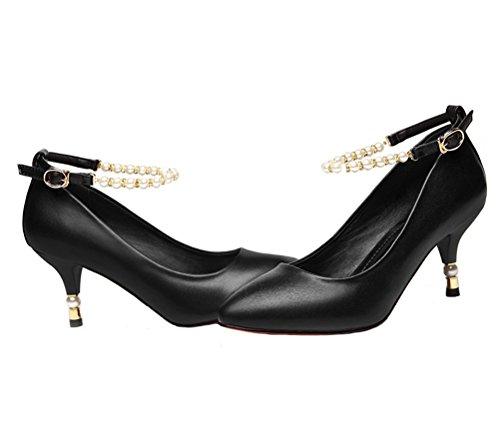 DUNHU Womens Stiletto Court Shoes Leather Ankle Strap Pumps Shoes Black d0Eo2f