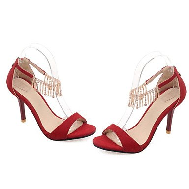 LFNLYX Las mujeres sandalias de gladiador de verano fiesta vestido de noche de terciopelo y cordón Stiletto talón Casual Zipper Borla Negro Rojo Amarillo Otros Black