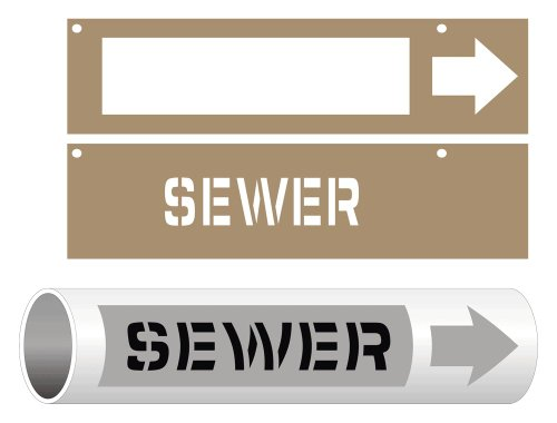 Sewer Stencil 3x15 in. Plastic for Pipe Markers Pipeline/Utility Hazmat by ComplianceSigns