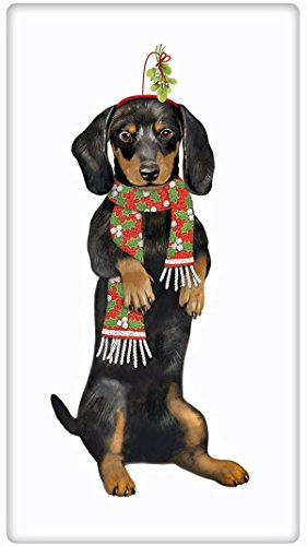 Festive Christmas Black Dachshund Dog 100% Cotton Flour S...