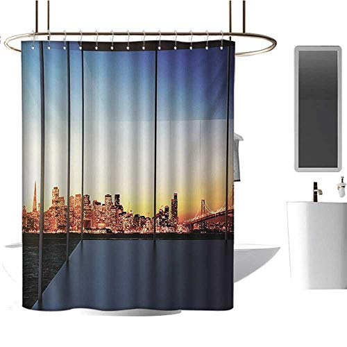 Modern Shower Curtains with Shower Hooks Sunset in New York City USA Cityscape with Bridge Skyscrapers Image Print Fabric Bathroom Set with Hooks Dark Blue and Orange