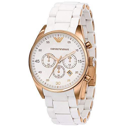 THENAUTICALMART Emporio Armani Sportivo White/Rose Gold Quartz Analog Women's Watch AR5920 (White & Rose Gold)