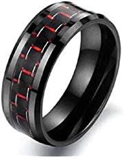 8MM Stainless steel red square carbon fiber ring