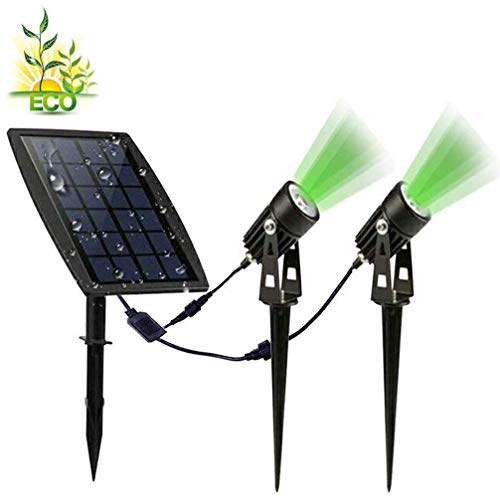 DLLT Led Solar Spot Lights Outdoor, Waterproof Powered Landscape Solar Spotlight Security Tree Lamps Auto On/Off for Outdoor,Garden,Backyard,Driveway(Green)