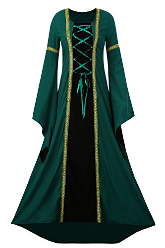Medieval Costumes Women (EastLife Womens Renaissance Medieval Dress Lace Up Vintage Floor Length Maxi Witch Dress)