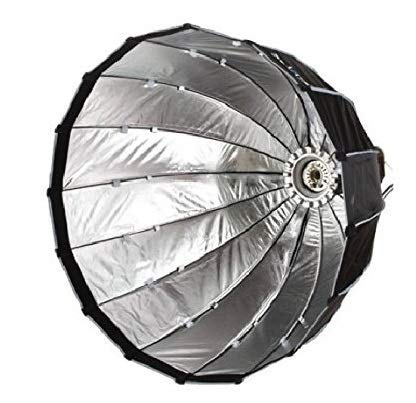PowerPak 70CM 16K Black/Silver Deep Parabolic Umbrella Softbox   Quick Setup Collapsible   Bowens Mount   Quick Folding Beauty Dish for Studio Lighting & Photography with Removal Diffuser