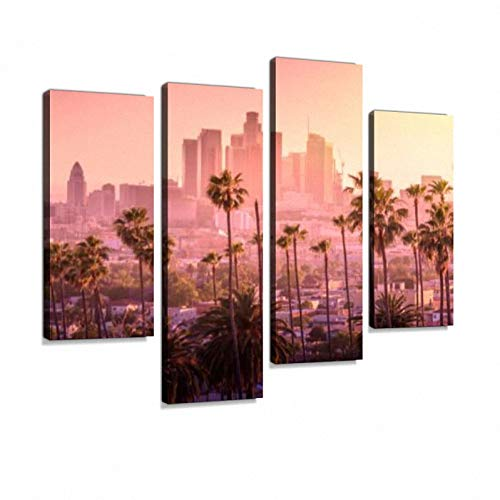Los Angeles Skyline Canvas Wall Art Hanging Paintings Modern Artwork Abstract Picture Prints Home Decoration Gift Unique Designed Framed 4 Panel