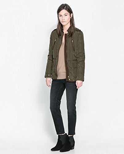 Zara caqui verde Parka codo diseño de la chaqueta acolchada ...