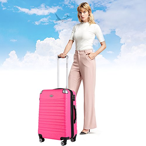 Expandable Carry On Luggage, Lightweight Spinner Carry Ons, Travel Collection TSA Carry On Luggage 20 inches (Pink) by Travel Joy (Image #7)