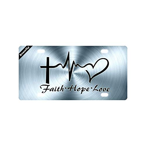 BrowneOLp License Plate Cover with Faith Hope Love Heart Graphics Design Metal License Plate Cover Decorative Car License Plate Auto Tag Sign Tag Cover Plate 6x12 Inch
