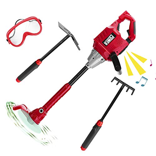 (Kids Size Power Construction Yard Toy Pack Tool Big Play Realistic Lawn Weedeater with Sound, Toddlers Pretend Play Yardwork Lawn Equipment Weeds Wacker Plastic Trimmer Toy for Boys Garden Tool)