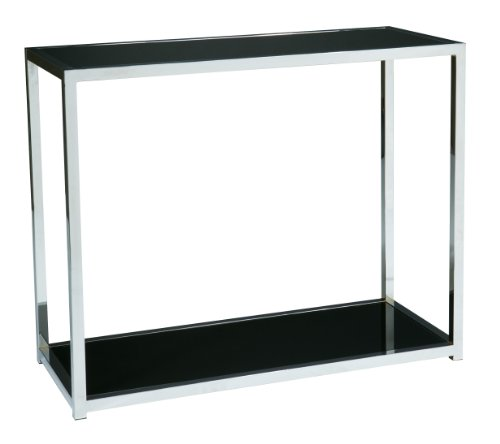 Modular Black Base (Work Smart AVE SIX Yield Modern Foyer Table with Chromed Steel Base, Black Glass Top)