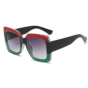 New Fashion Sunglass,Mr.Macy Oversized Square Luxury Sunglasses Gradient Lens Vintage Women Fashion Eyewear (C, Free)