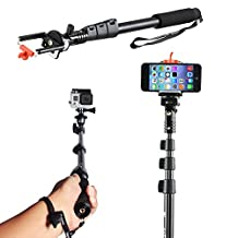 """Spark Electronics Self Picture Monopod [Selfie stick for cell phone & GOPRO] - Wireless Extendable Camera Shooting Monopod up to 49"""" - Selfie Handheld Stick Pole with Mount Holder - Designed for Apple Iphone 6 Plus 6 5s 5c 5 4s Samsung Galaxy Alpha S5 S5 GO PRO Active S4 S4 Mini S3 S3 Mini Samsung Galaxy Note Edge 4 3 2 Blackberry Passport Motorola Moto G X HTC One M8 M7 X Google Nexus 7 Lg G3 G2 Nokia Lumia Sony and Most of the Other Smart Cell Phones (BLACK)"""
