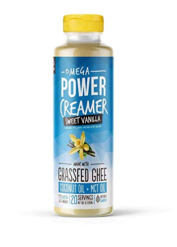 Omega PowerCreamer – VANILLA Keto Coffee Creamer – Grass fed Ghee, Organic Coconut Oil, MCT Oil, Stevia | High Fat Butter Blend | Paleo, Ketogenic, Zero Carb, Sugar Free 10 fl oz (20 servings)