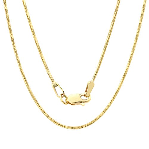 Solid 14K Yellow Gold Round Snake Chain Necklace- 0.8mm Width & 16 inches in Length 14k Yellow Snake Chain