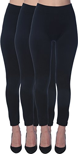 Women's Seamless High Waist Brushed Fleece Lined Legging, 3 Black, Size Small