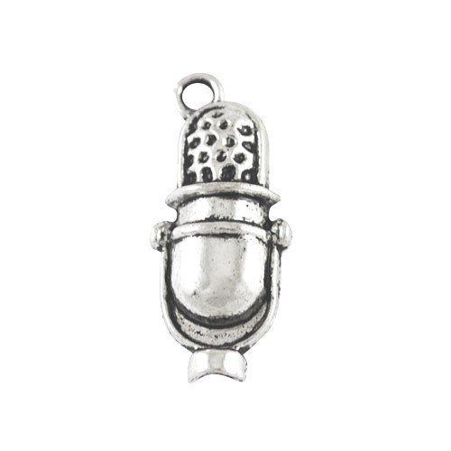 Paquet 10 x Argent Antique Tibétain 20mm Breloques Pendentif (Microphone) - (ZX01160) - Charming Beads