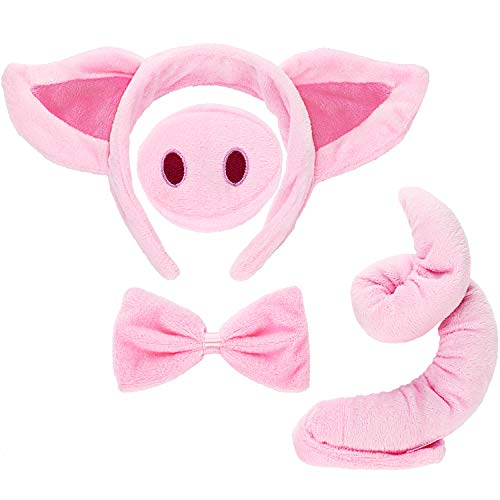Animal Costume Set Animal Ears Nose Tail and Bow Tie Animal Fancy Dress Costume Kit Accessories for Kids (Pig Costume) Pink