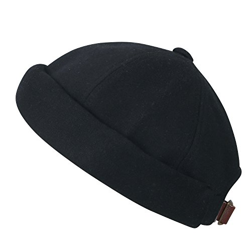 Beanie Mens Casual Hats - ililily Solid Color Cotton Short Beanie Strap Back Casual Hat Soft Cap, Black