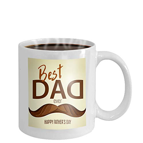 Coffee cup mug best dad ever gold text black background glitter lettering golden spray happy fathers day design greeting card poster 11oz