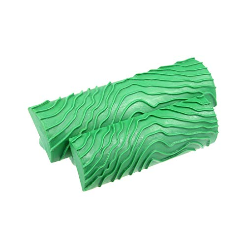 uxcell Wood Grain Tool 5 inch 4 inch Empaistic Rubber Square Graining Pattern Stamp for Wall Decoration DIY Green 1 Set